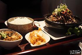Plateau repas, avec entrée, riz et plat principal